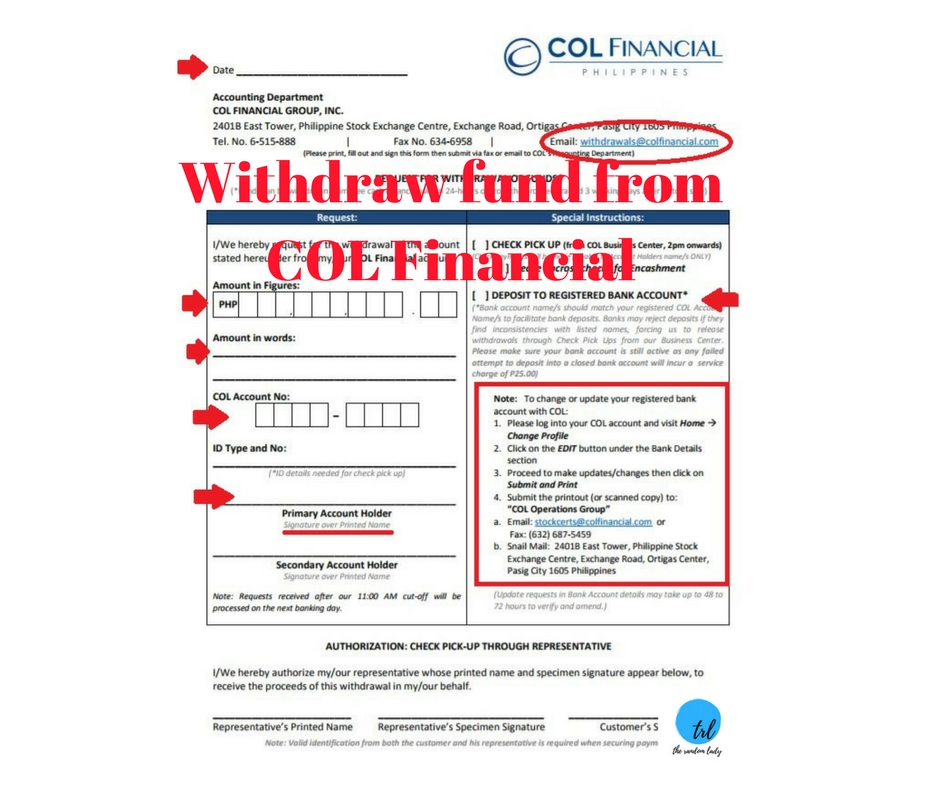 Withdraw fund fromCOL Financial